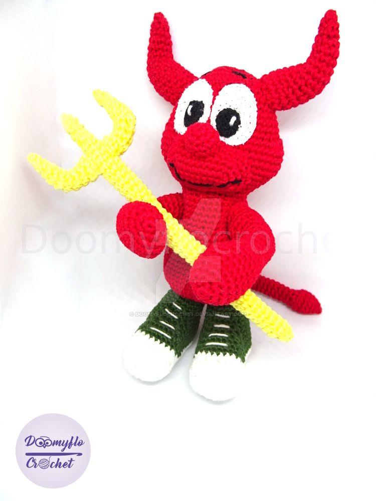 Amigurumi Mascotte Beastie Daemon Freebsd Crochet  by doomyflocrochet