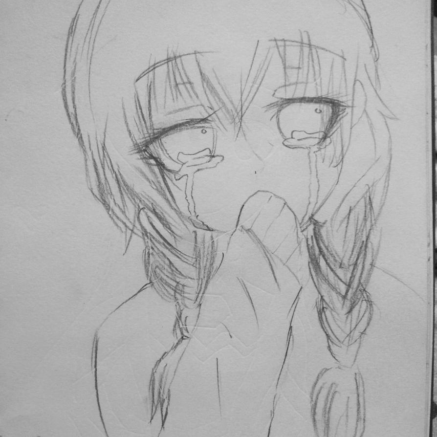 My Drawing(animegirl Crying) By Twilightmoon99