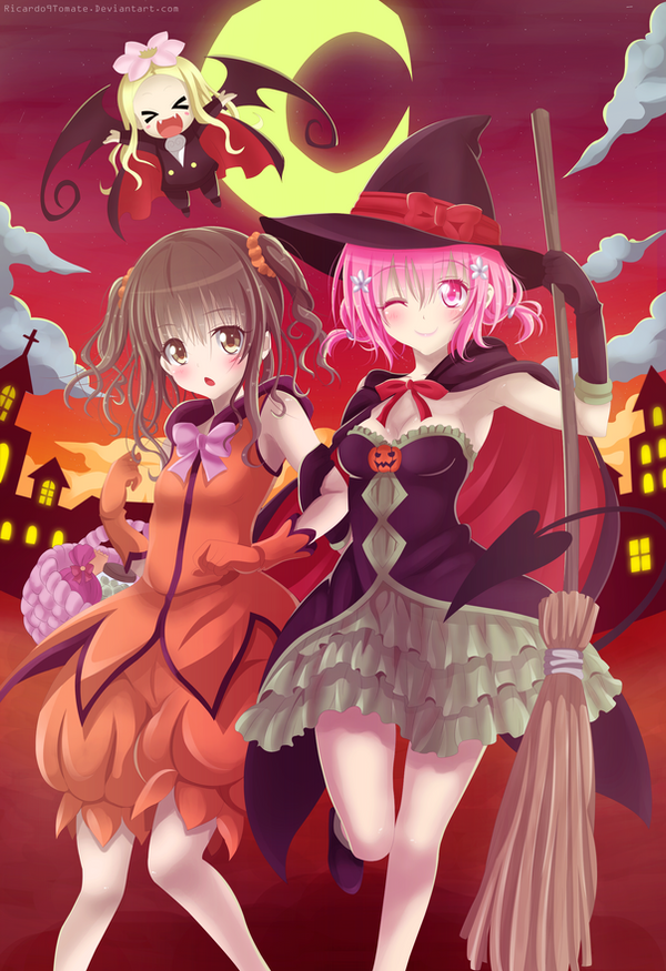 momo and mikan happy halloween by ric9duran - I Luv Halloween Manga