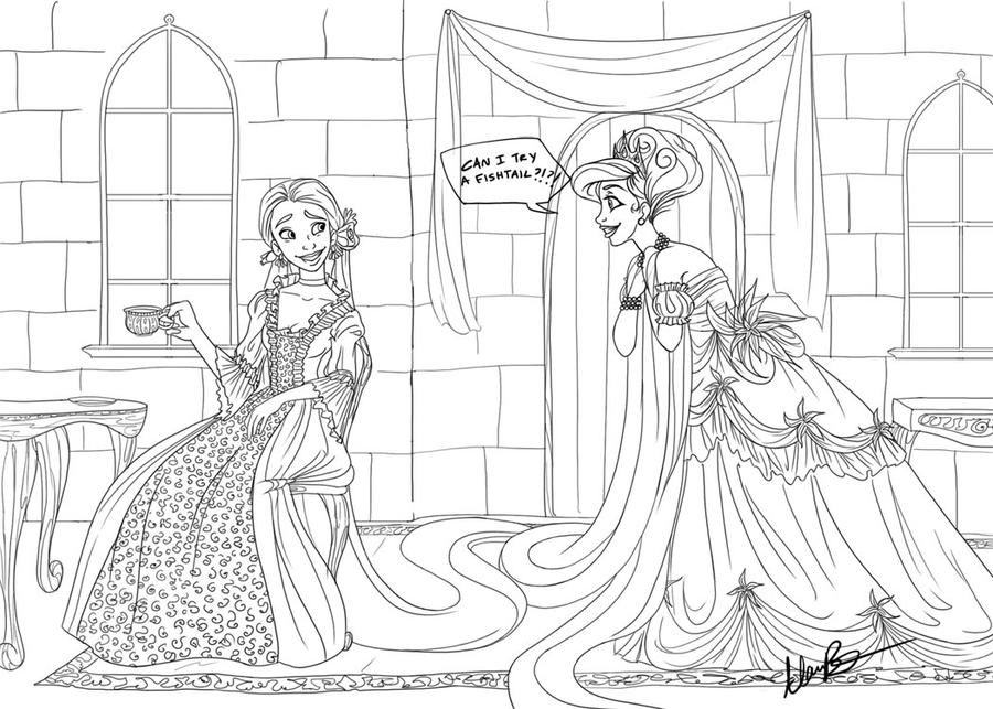 Tea with a side of Fishtail Lineart by Qballthe5th
