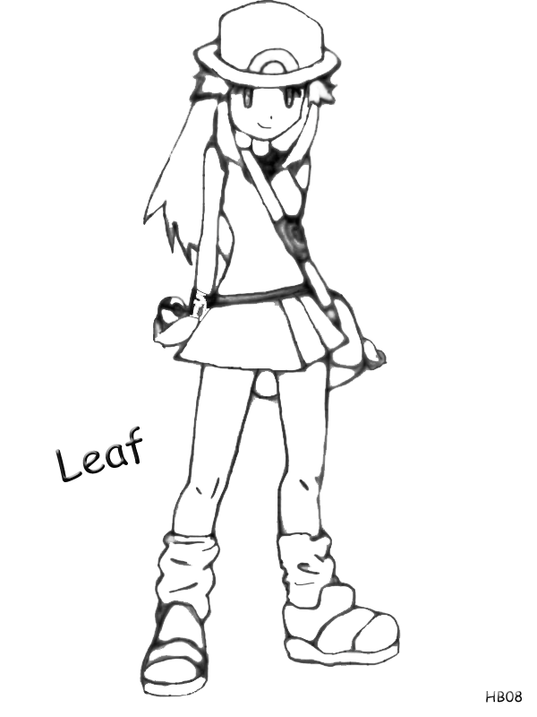Pokemon Trainer Leaf ~ Lineart/Drawing by Harukablaze08