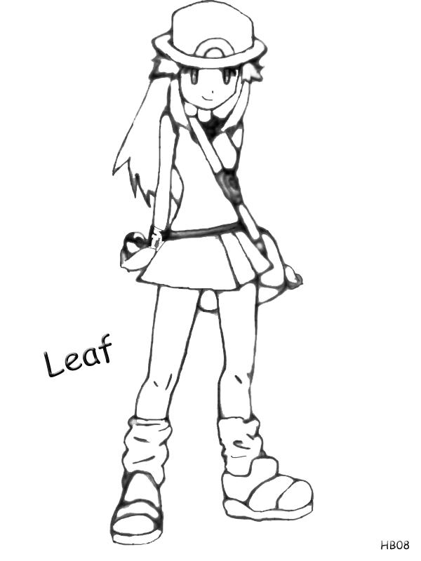 Pokemon Trainer Leaf ~ Lineart/Drawing by Harukablaze08 on