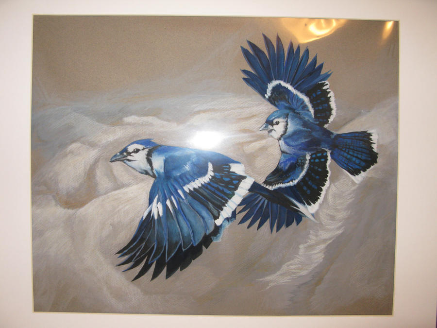 two birds flying art