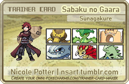 Pokemon: Gaara Trainer Card