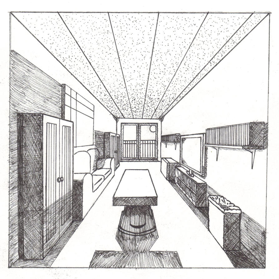 Living room perspective drawing - Source Th00 Deviantart Net Report One Point Perspective Living Room Drawing