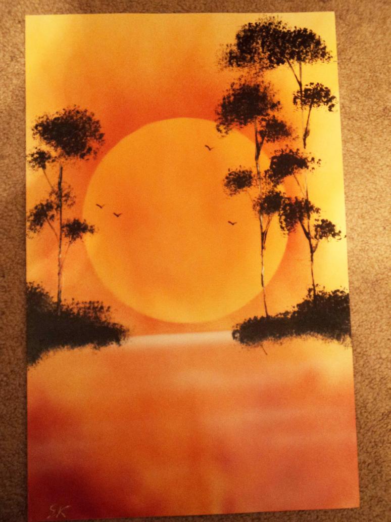 tranquil sunset spray paint by kephazard on deviantart. Black Bedroom Furniture Sets. Home Design Ideas