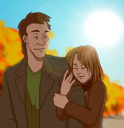Autumn vibes ( old Peter Venkman and Mina ( OC ) )