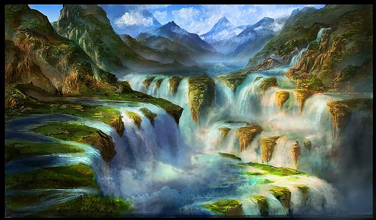 Waterfall Scene by GeorgeLovesyArt