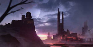 Sunset Castle-Speedpainting by GeorgeLovesyArt
