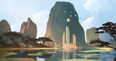 Temple Lagoon by GeorgeLovesyArt