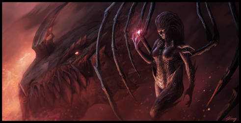 Kerrigan and Deathwing by GeorgeLovesyArt