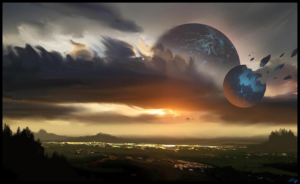 Moonlit Meadow by GeorgeLovesyArt