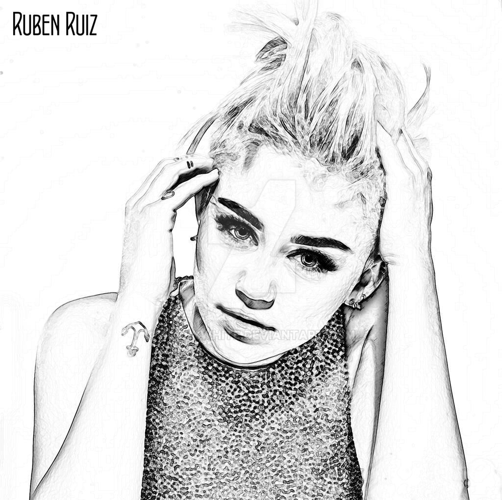 Miley Cyrus Drawing Portrait By Rubenwhite On Deviantart