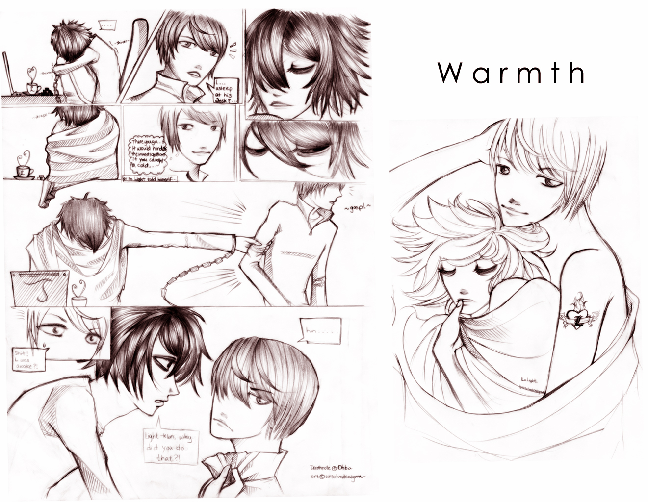 Deathnote:LxLight: Warmth by unsolvedenigma on DeviantArt