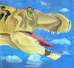 Tarbosaurus admires azure sky