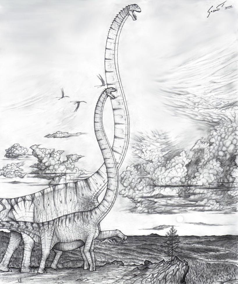 Hudiesaurus await the Storm by Paleo-King