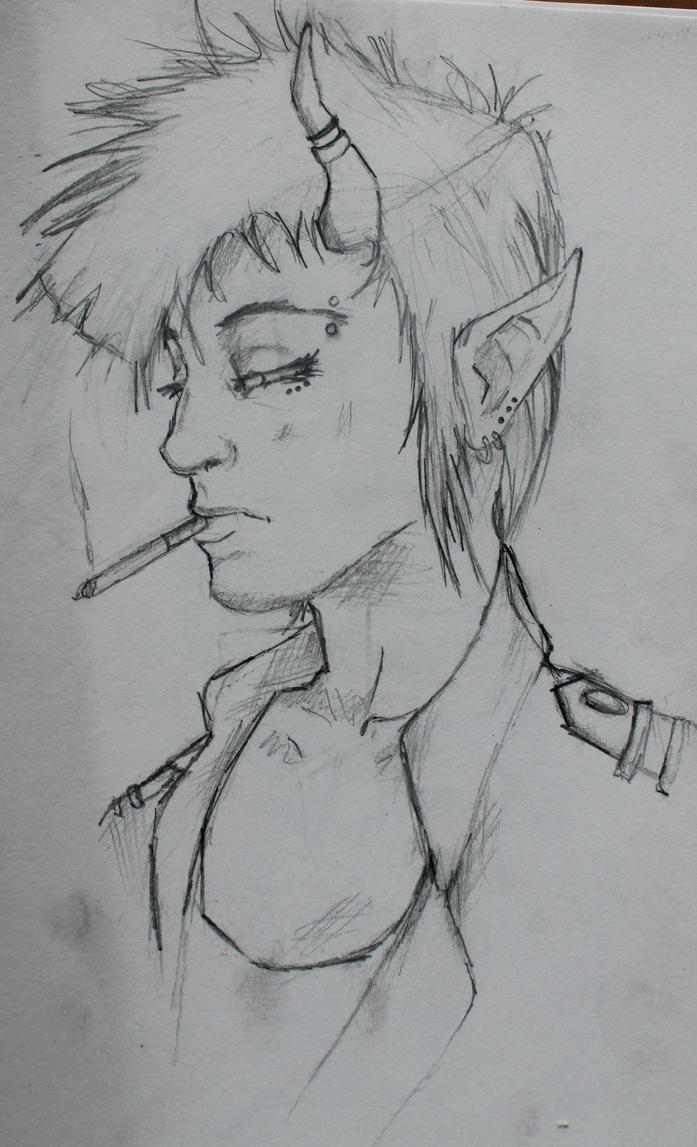Punk Demon Sketch by LittleVoodooShoppe