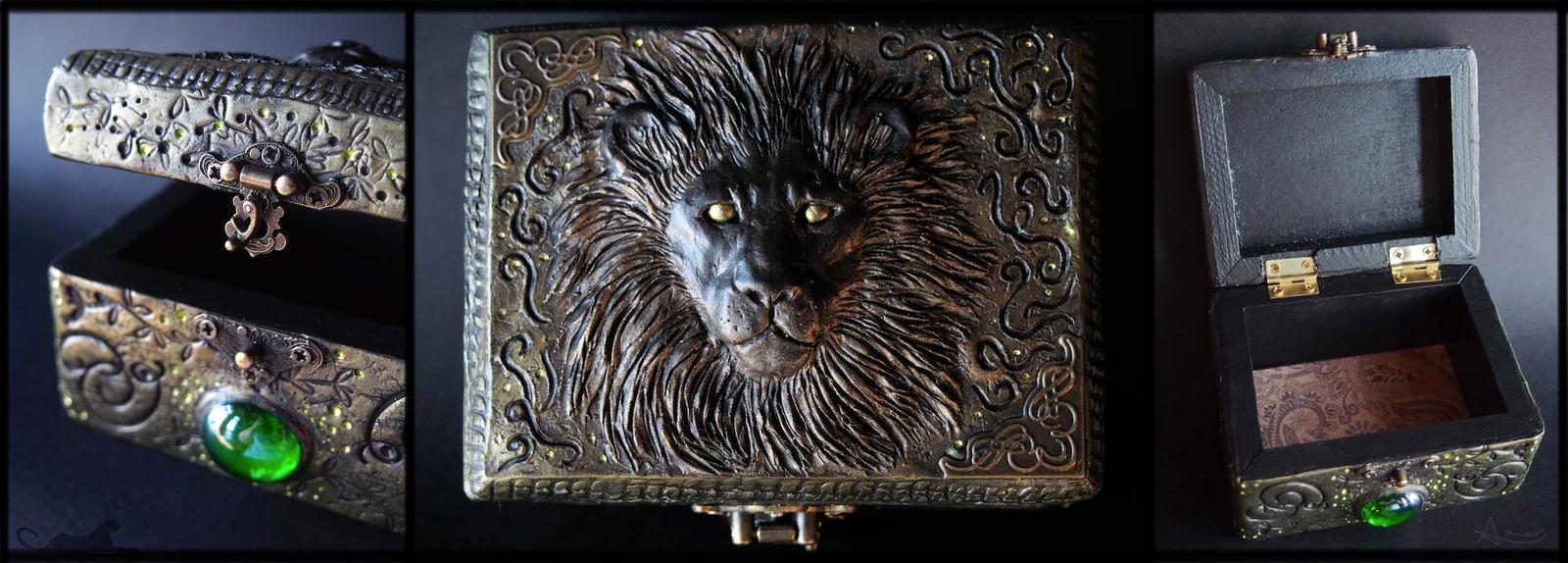 :.OOAK Lion trinket box.: by XPantherArtX