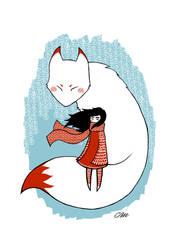 White fox, red girl