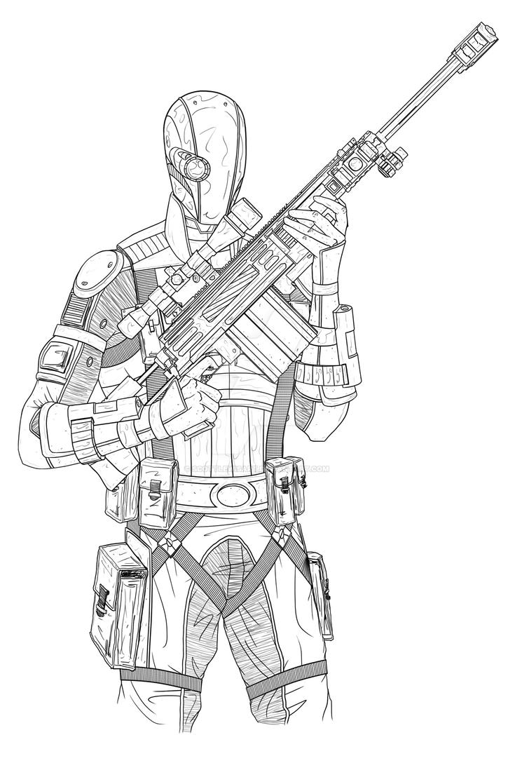 Deathstroke Batman Arkham Knight Coloring Pages Sketch Coloring Page
