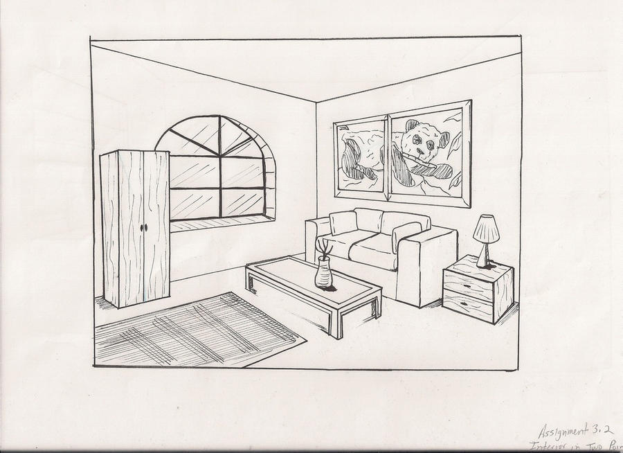 Living room drawing by kj art on deviantart for Simple drawing room interior design