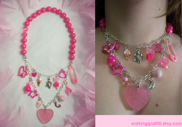 Pretty In Pink Necklace by WalkingGraffiti - K���k K�zlar�m�za �zel :)