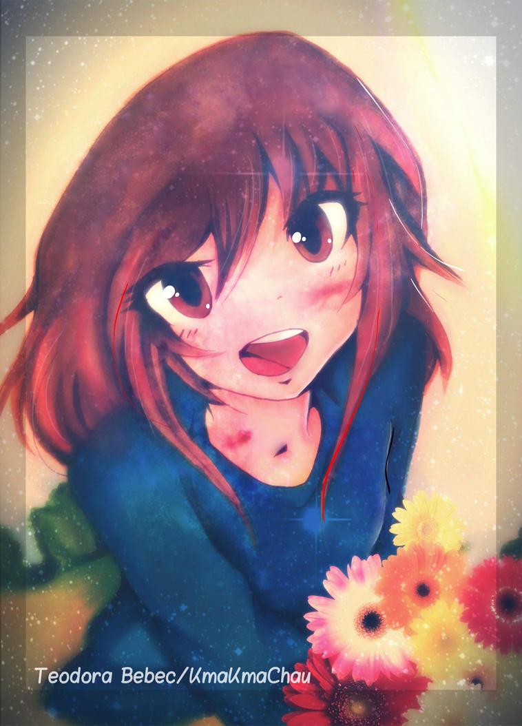 cute anime girl with flowers!kmakmachau on deviantart