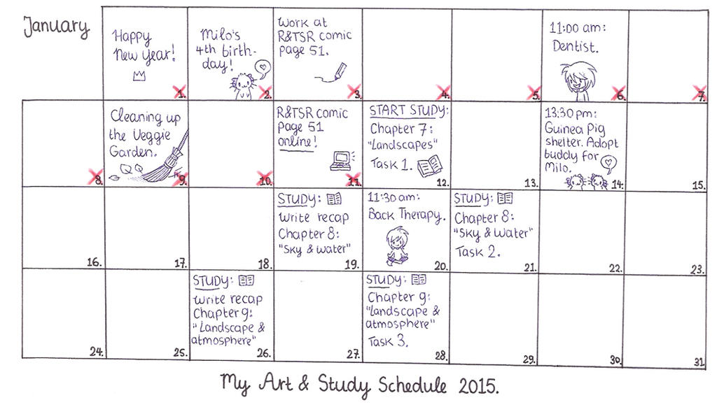My Art & Study Schedule January 2015. by MarleyMoonflight
