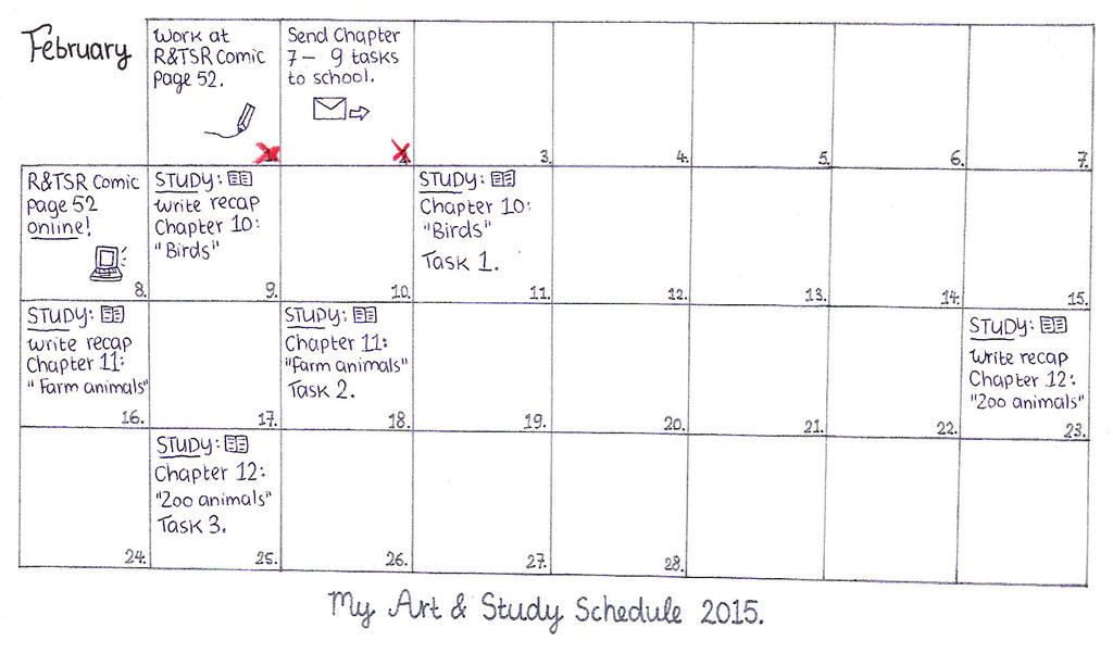 My Art & Study Schedule February 2015. by MarleyMoonflight