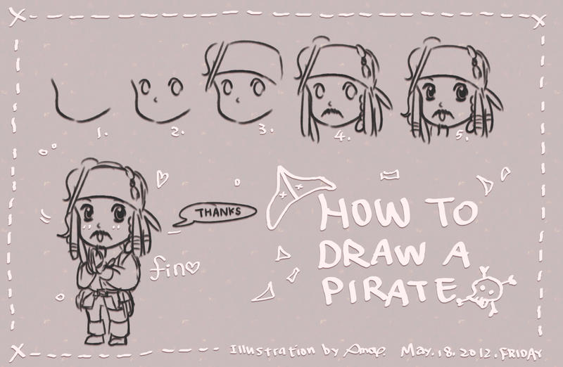 how to draw a pirate by amoykid