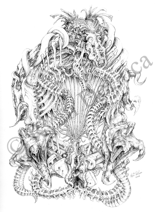 Biomechanical Bone Dragon by ryn0saurBiomechanical Gears Drawings
