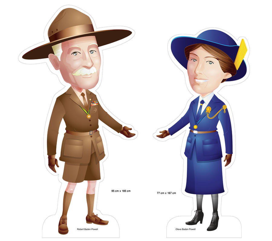 girl scout boys scout founder standee by armsofsin on