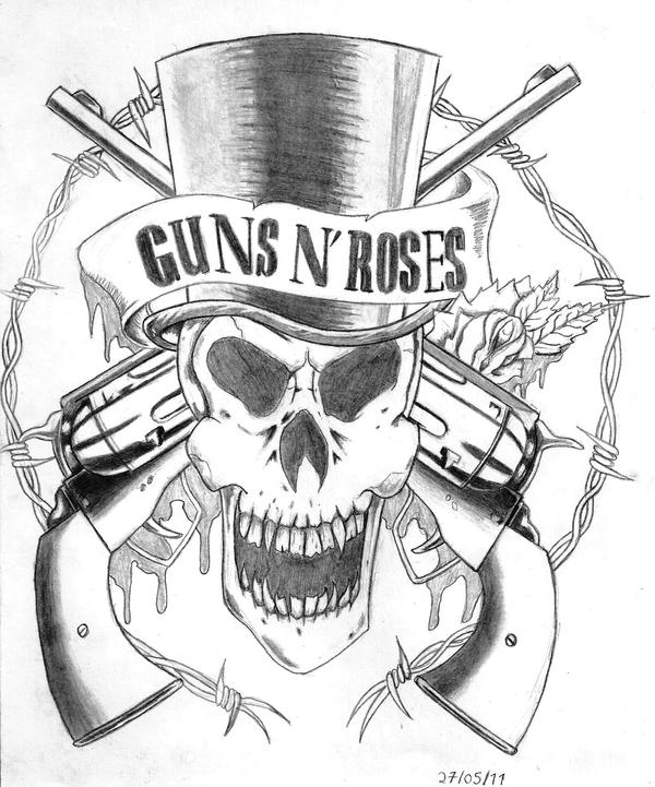 Gun Drawing Step by Step Guns N' Roses Logo Drawings