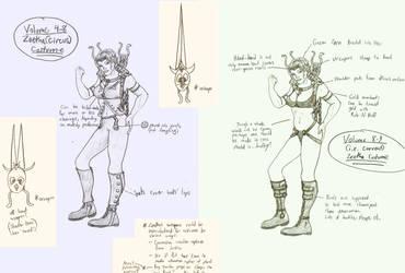 Zeetha costume idea drawings by gadren