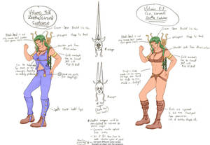 Zeetha color costume drawings