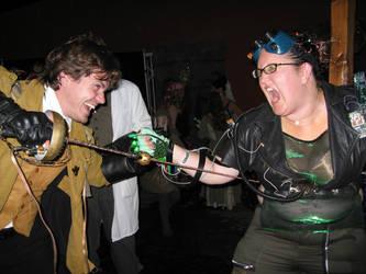 Steampunk vs Cyberpunk by gadren