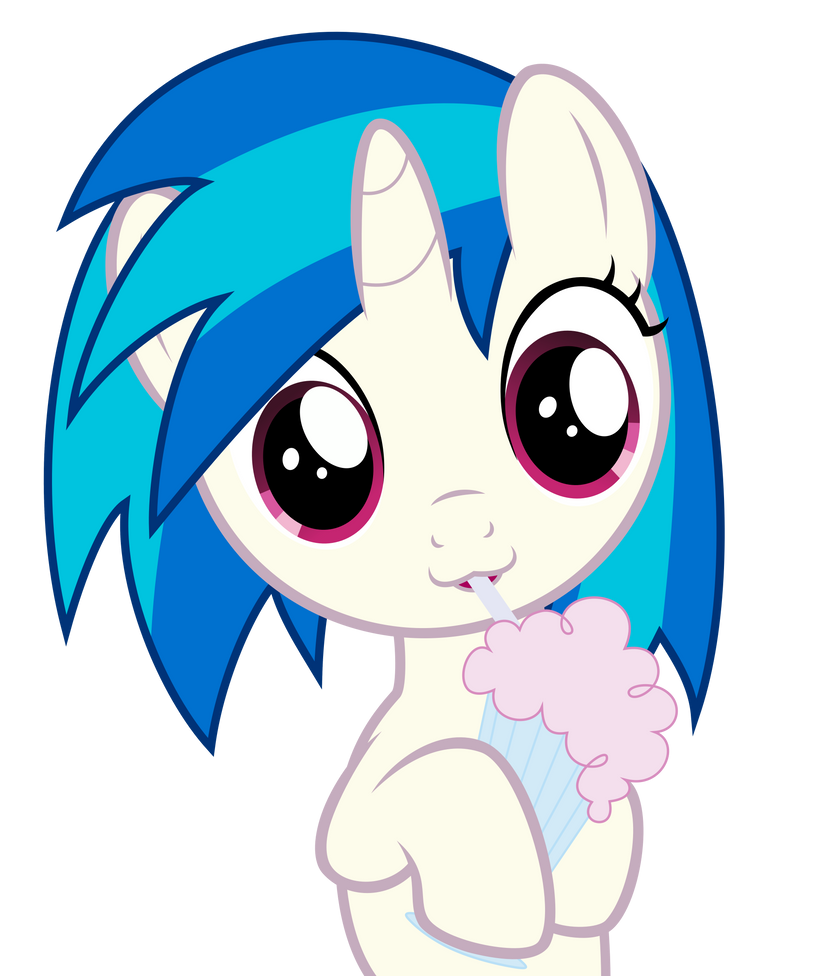 Vinyl Scratch enjoys her milkshake by DrPancakees