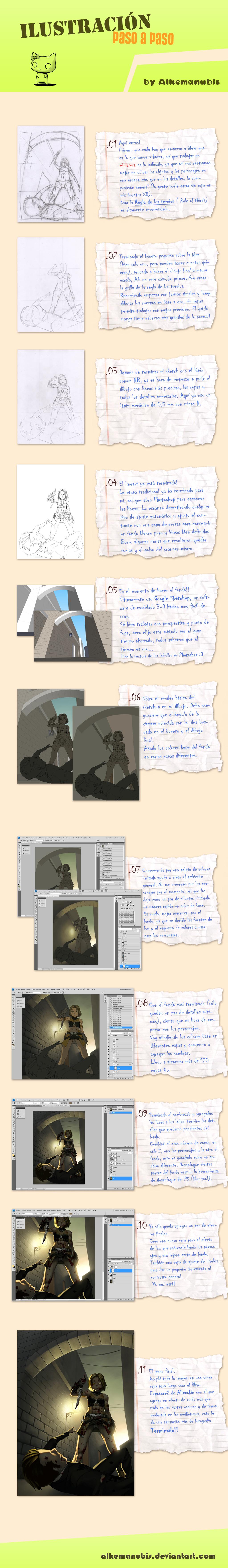 Ilustracion paso a paso by ALKEMANUBIS