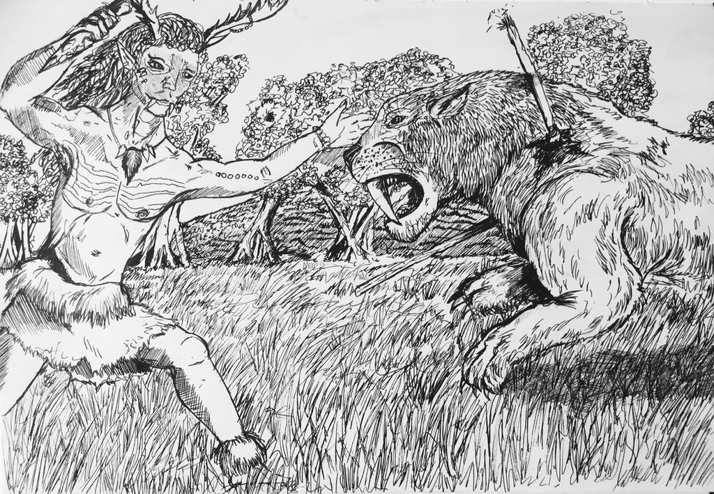 Samuel and the Smilodon by PossessedIron