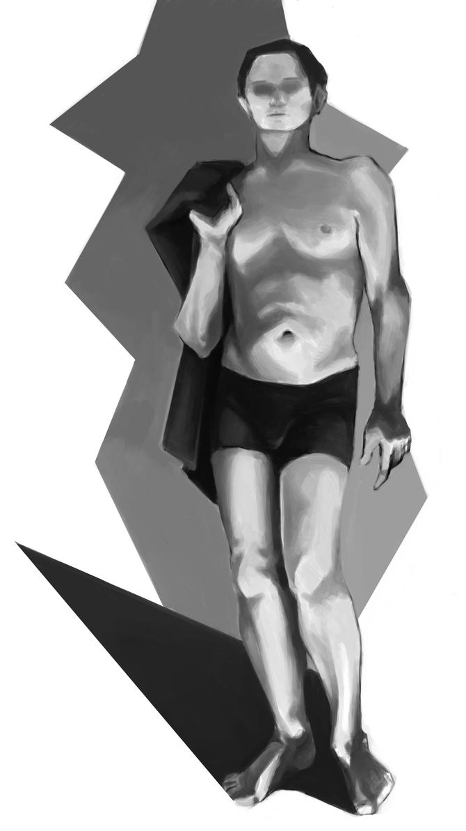 Grayscale Figure Painting by rafagranaa