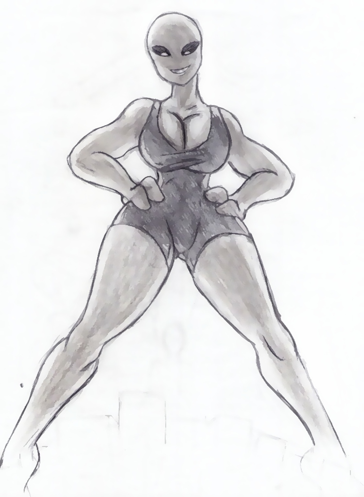 Giantess Sketch - UNI Light Test by Colonel-Gabbo
