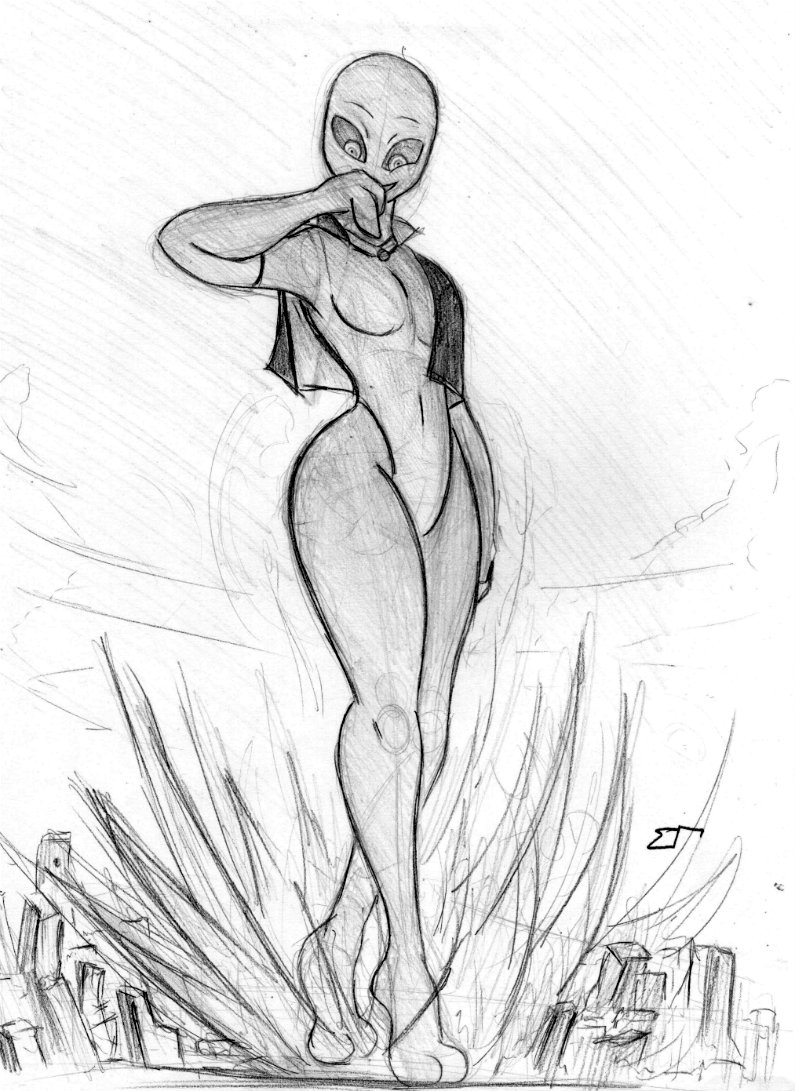 Giantess Sketch - UNI Color effects WIP by Colonel-Gabbo