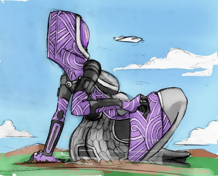 Giantess Draw - Tali'Zorah shot 3 by Colonel-Gabbo