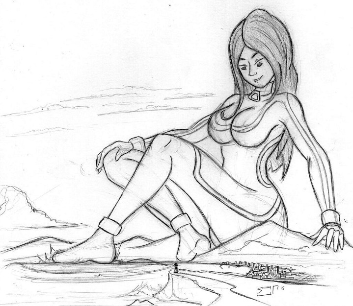 Giantess Sketch - Giga Elisa 2.0 (WIP) by Colonel-Gabbo