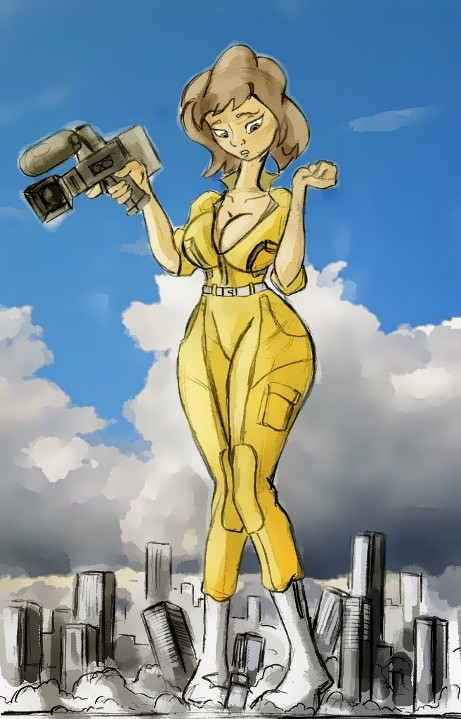 Giantess Draw - April O'Neil by Colonel-Gabbo