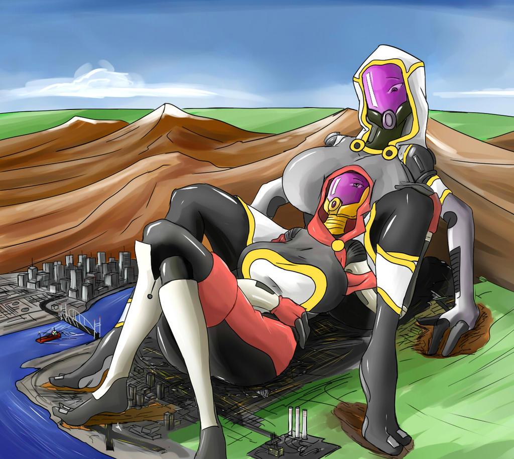 Giantess Draw - Lea and Leema by Colonel-Gabbo