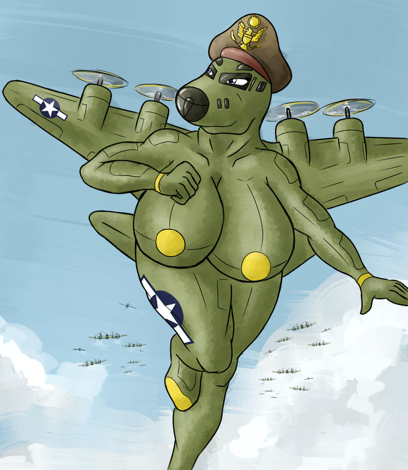 Giantess Draw - Lucy the Flying Fortress by Colonel-Gabbo
