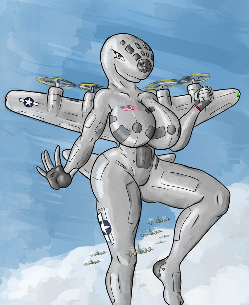 Giantess Draw - Marylin the Superfortress by Colonel-Gabbo