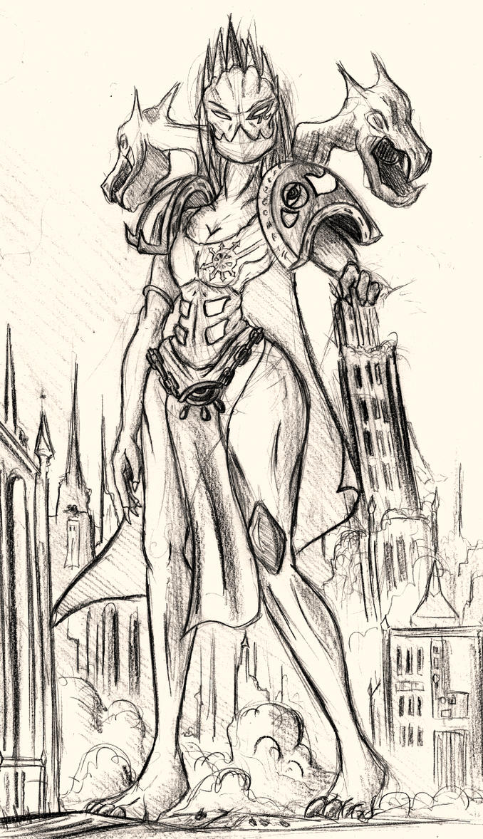 Giantess Draw - Esmeralda,Champion of Tzneetch by Colonel-Gabbo