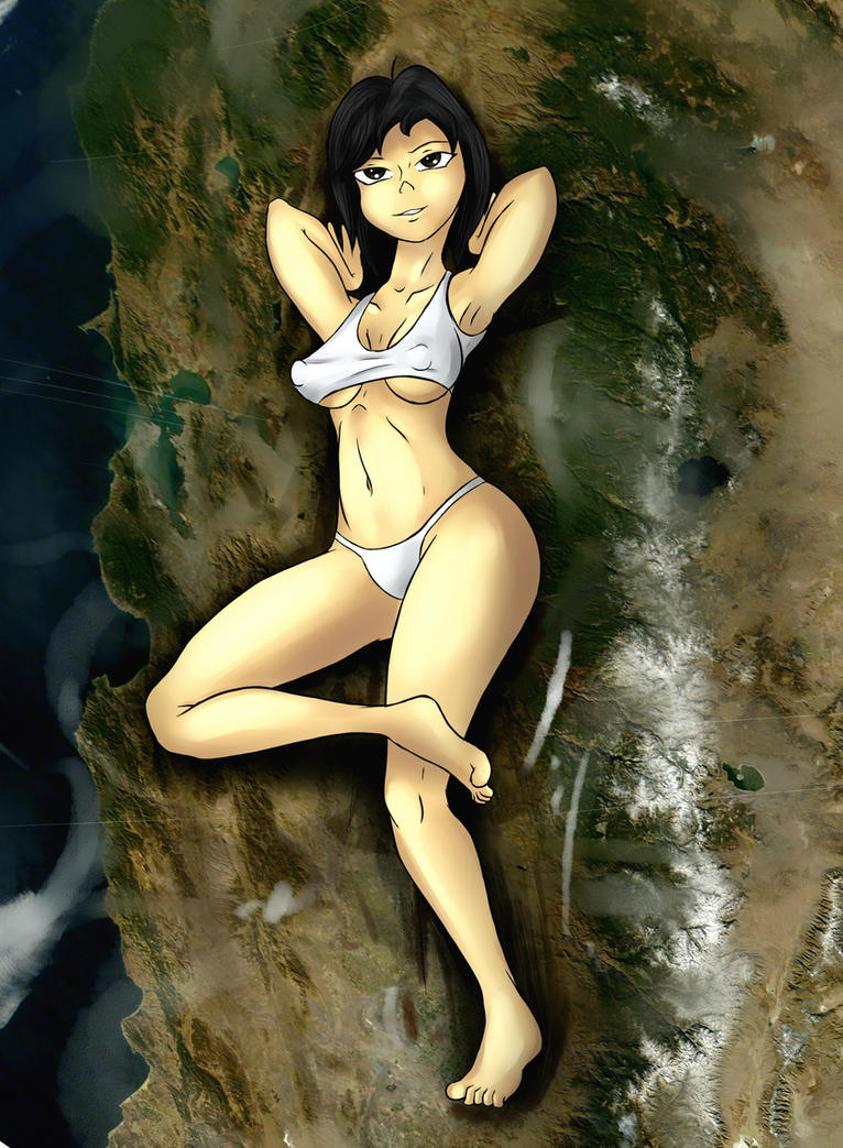Giantess Draw - Lounging over California by Colonel-Gabbo